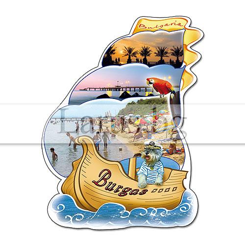 Сувенир-магнит,щанца, корабче Бургас