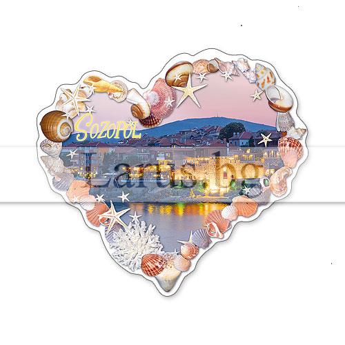 Сувенир-магнит,щанца, сърце Созопол